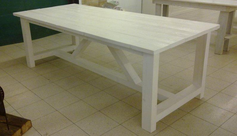 Houten Eettafel White Wash.Tafels Voor Binnen En Buiten Kloostertafel In Vele Maten En